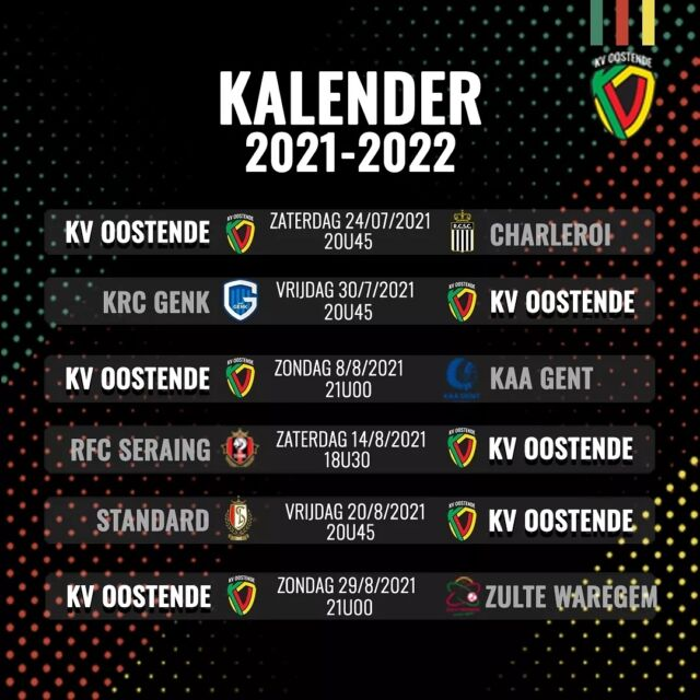 🗓️ Calendar 2021-2022 🗓️  We start with a home game against @rcsc.officiel and then go to @krcgenkofficial.  Full calendar on KVO.be  #JupilerProLeague#ElevenSports