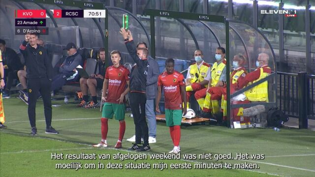 Our German youth international @alfons.amade made his first minutes for KVO last Saturday. He made a good impact with his intensity, agressivity and speed. Looks promising, keep continueing the hard work Alfons ! #kvocha #jpl #amade
