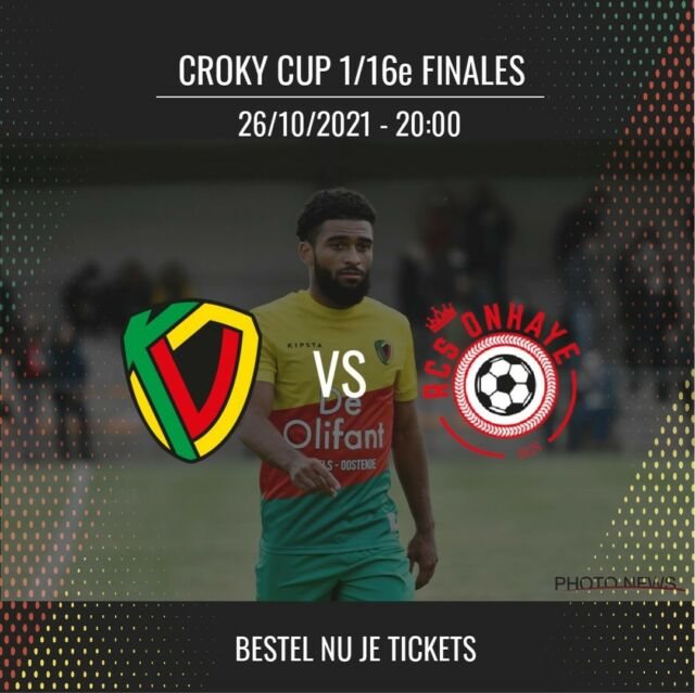 Tickets (€5) for the cup game against Onhaye are now available online and in the Ticketing shop ! #kvoostende #crokycup #KVO40JOAR